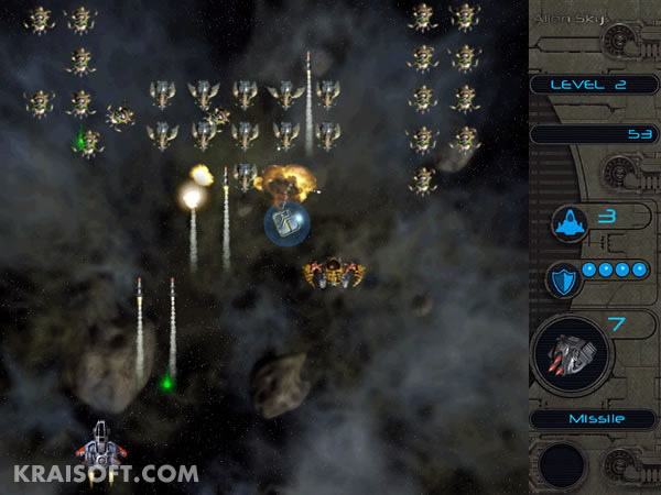 Make a raid into alien force positions in this space-shooter.